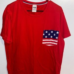PINK red shirt with American flag